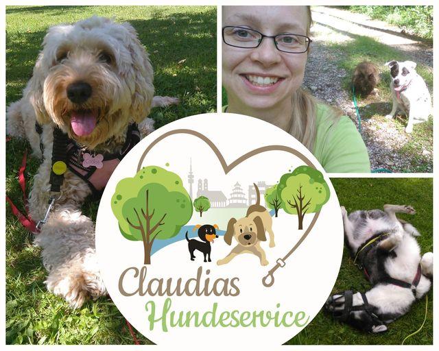 Logo im Zentrum umrahmt mit Bildern der Hunde und Claudia aus dem Gassiservice